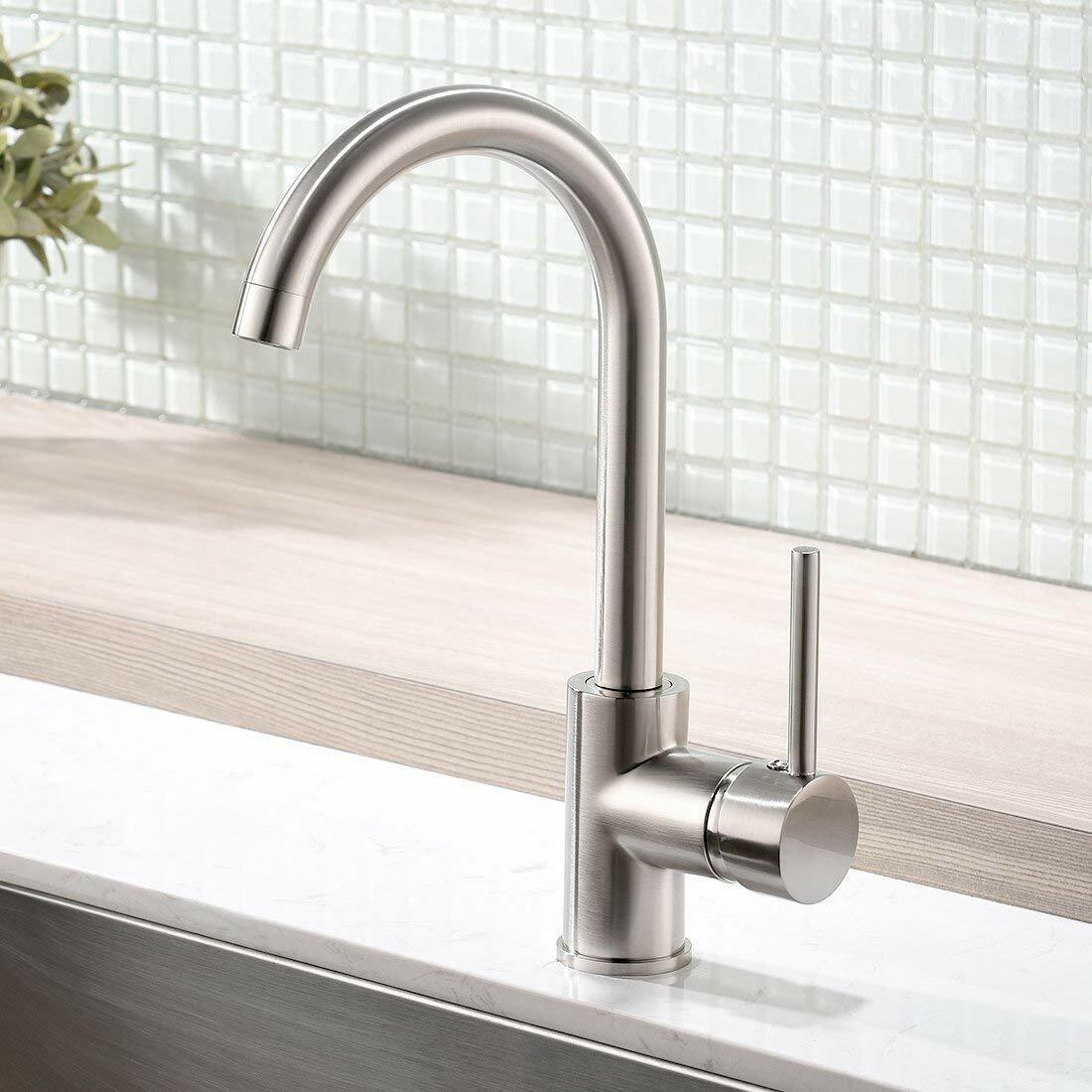 Modern Bar Sink Faucet Kitchen Sink Single Handle Brush Nickle Prep Sink  Faucets