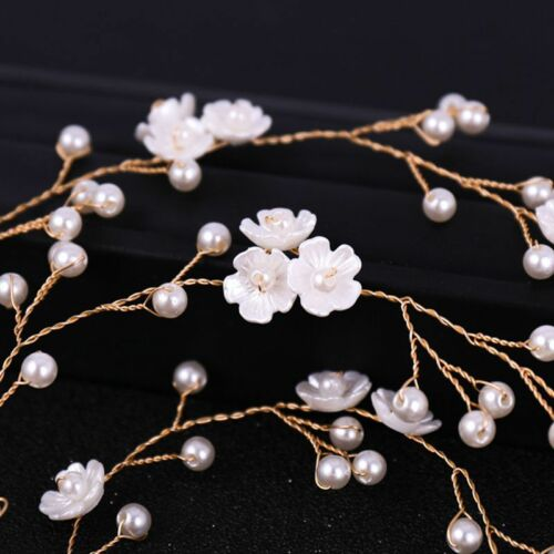 100cm Floral Long Hair Band Headband Simulated Pearl Wedding Bride Headwear Gift