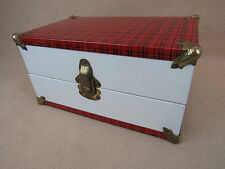 """Vintage 1950s doll trunk case with clothing shoes misc for 8 to 10"""" doll"""