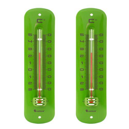 Außenthermometer 2 Stück Set Metall 19 cm grün analog Garten Außen Thermometer