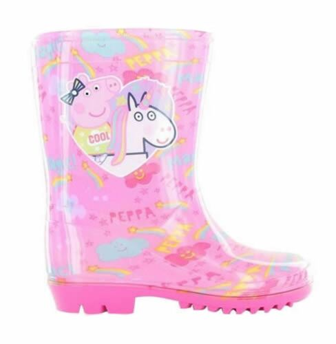 Girls Toddler Nick Jr Peppa Pig Winter Wellies Shoes Boots Pink Purple Size 6-12