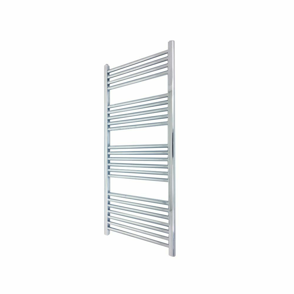 400mm x 1200mm Straight Chrome Bathroom Heated Towel Rail Radiator 1637 BTUs