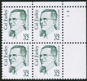 Sc-2934-Plate-Block-32-cent-Cal-Farley-Issue-db20