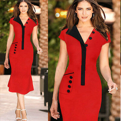 Women Sexy V-neck Business OL Evening Party Cocktail Bodycon Pencil Wiggle Dress
