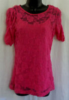 Bobbie Brooks Ladies Knit Top Size S Pink Lace Nylon Blend Lined Short $15