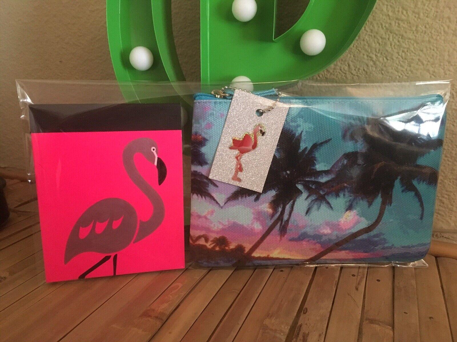 Tropical Hawaii Tiki Palm Canvas Cosmetic Bag +Flamingo Notebook 2 Pc Gift Set