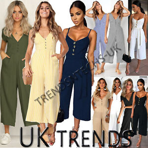 UK-Womens-Summer-Striped-Buttons-Wide-Leg-Holiday-Jumpsuits-Playsuits-Culotte