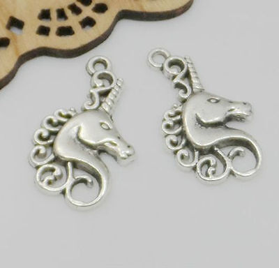 20/100pcs Ancient Silver Unicorn Horse Charm Pendant For Jewelry Making 15x26mm