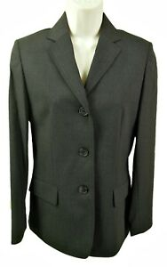 Lj139 Dark Grey Wool Blend Tailored 3 Button Jacket Dimensions Size Uk 8