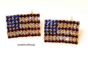 Clip On Earrings Gold Red White Blue Crystal Rhinestone American USA ... 2f1880db5e20