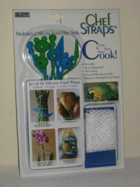 16 REUSABLE SILICONE CHEF STRAPS FOOD WRAPS REPLACE TOOTHPICKS STRING OVEN SAFE