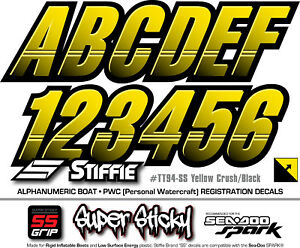 STIFFIE Techtron TT06-SS Sea-Doo Spark Registration Numbers Decals RED BLACK