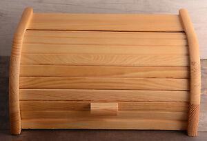 Image Is Loading Large Kitchen Wooden Roll Bread Bin Top Storage