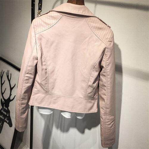 Women Punk Biker Motorcycle Lapel Soft Faux Leather Zipper Slim Jacket Coat New