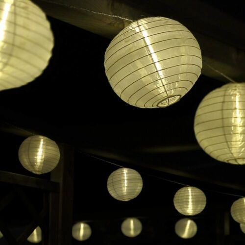 CATENA luminosa 15 LED lanterna di carta Ø 15cm BIANCO Lanterne sfere Festa Catena di luci esterno