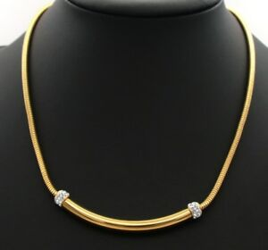 Vintage-0-50ct-Round-Diamond-14k-Yellow-Gold-Over-Snake-Chain-Choker-18-039-Necklace