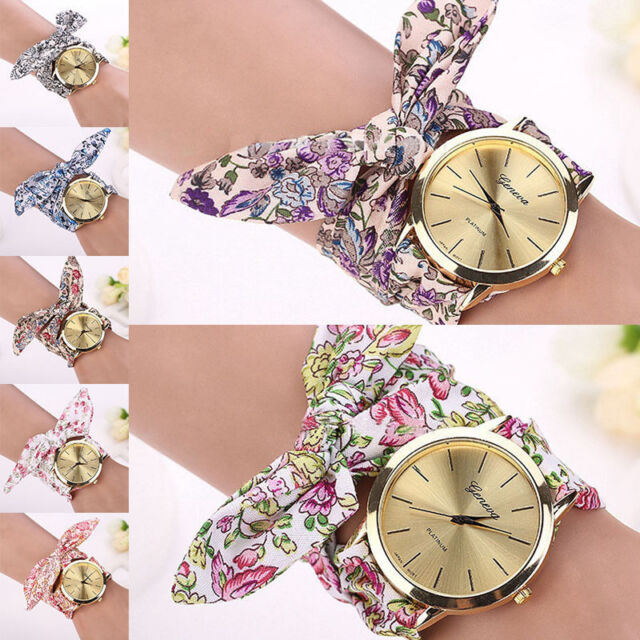 Women Geneva floral Cloth Band Quartz Analog Dress Tie Belt Bracelet Wrist Watch