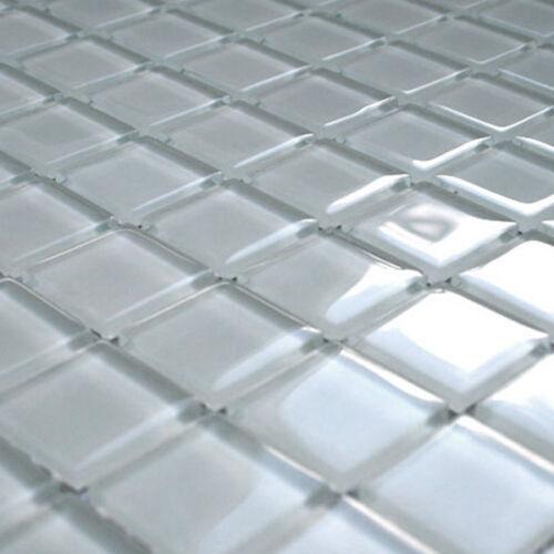 MUSTER Glasmosaik Fliesen Weiss Uni 25x25x4mm