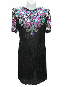 LAWRENCE-KAZAR-Vintage-Black-Multi-Color-Sequin-Beaded-Open-Back-Silk-Dress-NWT
