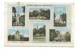 Grey-County-OWEN-SOUND-ONTARIO-Multi-View-Postcard-showing-local-churches