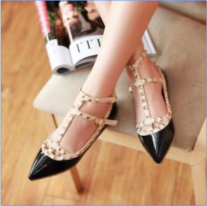 Ladys-Fashion-Punk-Metal-Womens-Studded-Point-Toes-Rivet-Ankle-Strap-Flats-Shoes