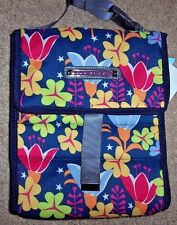 NWT Lily Bloom Navy Blue FLOWERS LILY PAD Foldover Insulated Lunch Tote Bag Pink