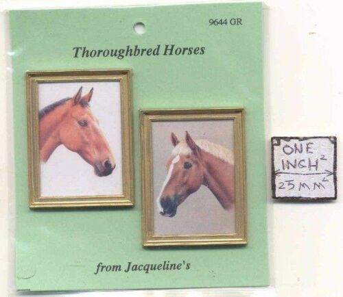 """Paintings /""""Thoroughbred Horses/"""" dollhouse miniature 1//12 scale 9644GR 2pc//set"""