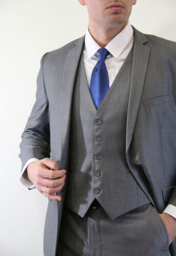 Men/'s 2 Button 3 Piece Vested Notch Lapel Flat Front Pants Slim Cut Fit Suit