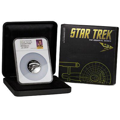 Able 2016-p $8 5 Oz Hr Silver Star Trek Enterprise Ngc Pf70 Uc (shatner) Sku41755