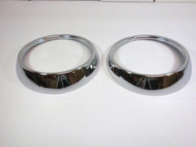 Set of 2 For VW Headlight Chrome Trim Ring Bug Bus Thing Type 3 Hella