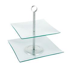 Cuadrado De Vidrio De 2 Niveles Pastel Soporte sirviendo placa de boda de alimentos de Pantalla Decoración de Mesa