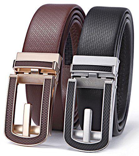 Bulliant Men/'s Leather Ratchet Dress Belt Click Buckle Trim to Fit Big/&Tall