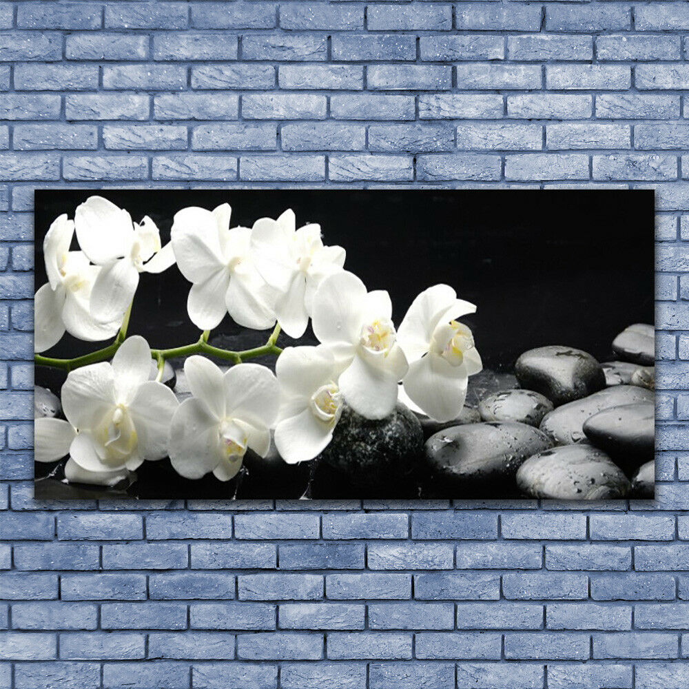 Canvas print Wall art on 140x70 Image Picture Flower Stones Stones Stones Floral 7aad00