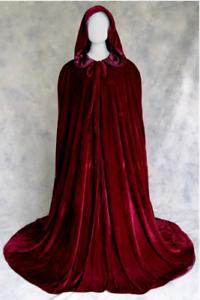 Man Women Full Length Hooded Cloaks Cape Coats King Queen Vampire White Black
