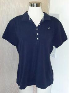 Nautica-Short-Sleeve-Navy-Blue-Knit-Polo-Shirt-Slim-Fit-Size-XL