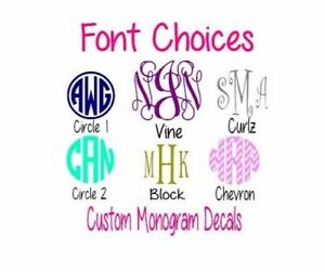"Custom Monogram Personalized 5/"" Vinyl Decal Sticker Any Color Car Window"