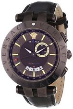 Versace Men's V-Race Watch 29G60D598 S497 Brown Leather GMT Alarm Date Watch