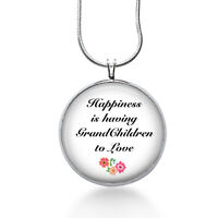 Grandma Quote Necklace, Grandmother Gifts - Grandchildren Pendant Grandma Gifts