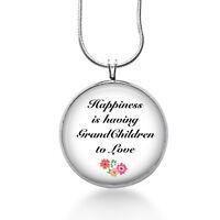 Grandma Quote Necklace, Grandmother Gifts - Grandchildren Pendant Grandma Gifts