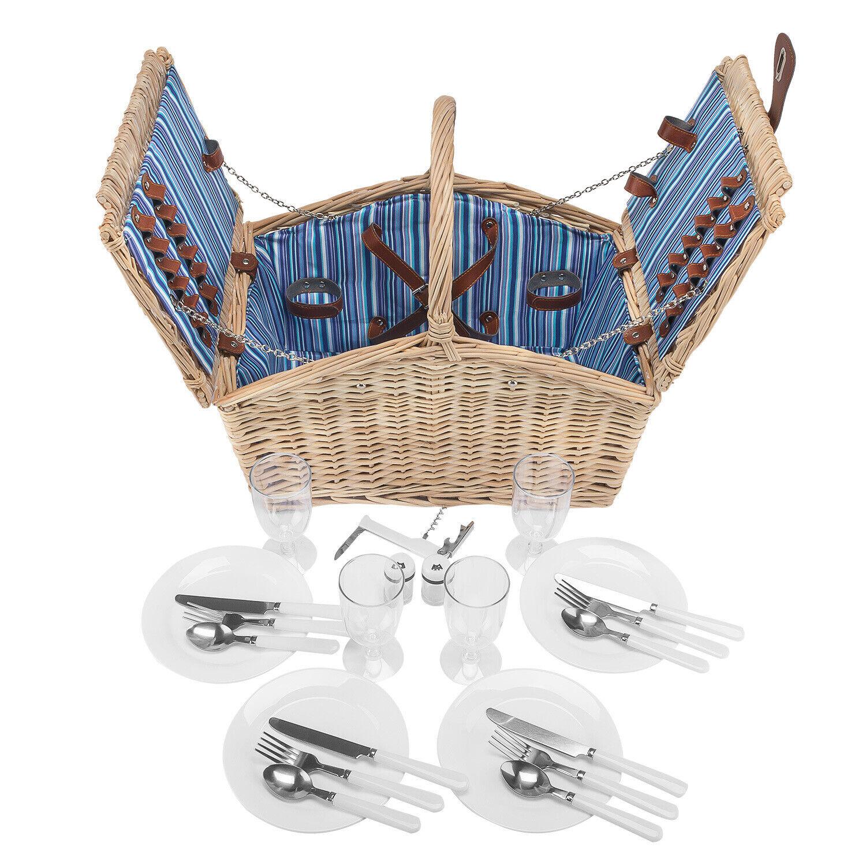 Pastos picnic cesto cesta de picnic para personas 4 + cubiertos + plato + copa cava