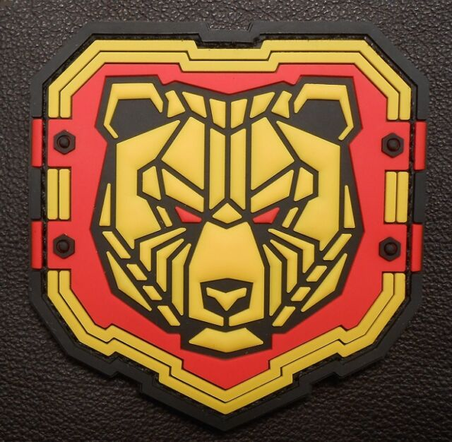 INDUSTRIAL BEAR 3D PVC TACTICAL BADGE MORALE US MILITARY FULL COLOR HOOK PATCH