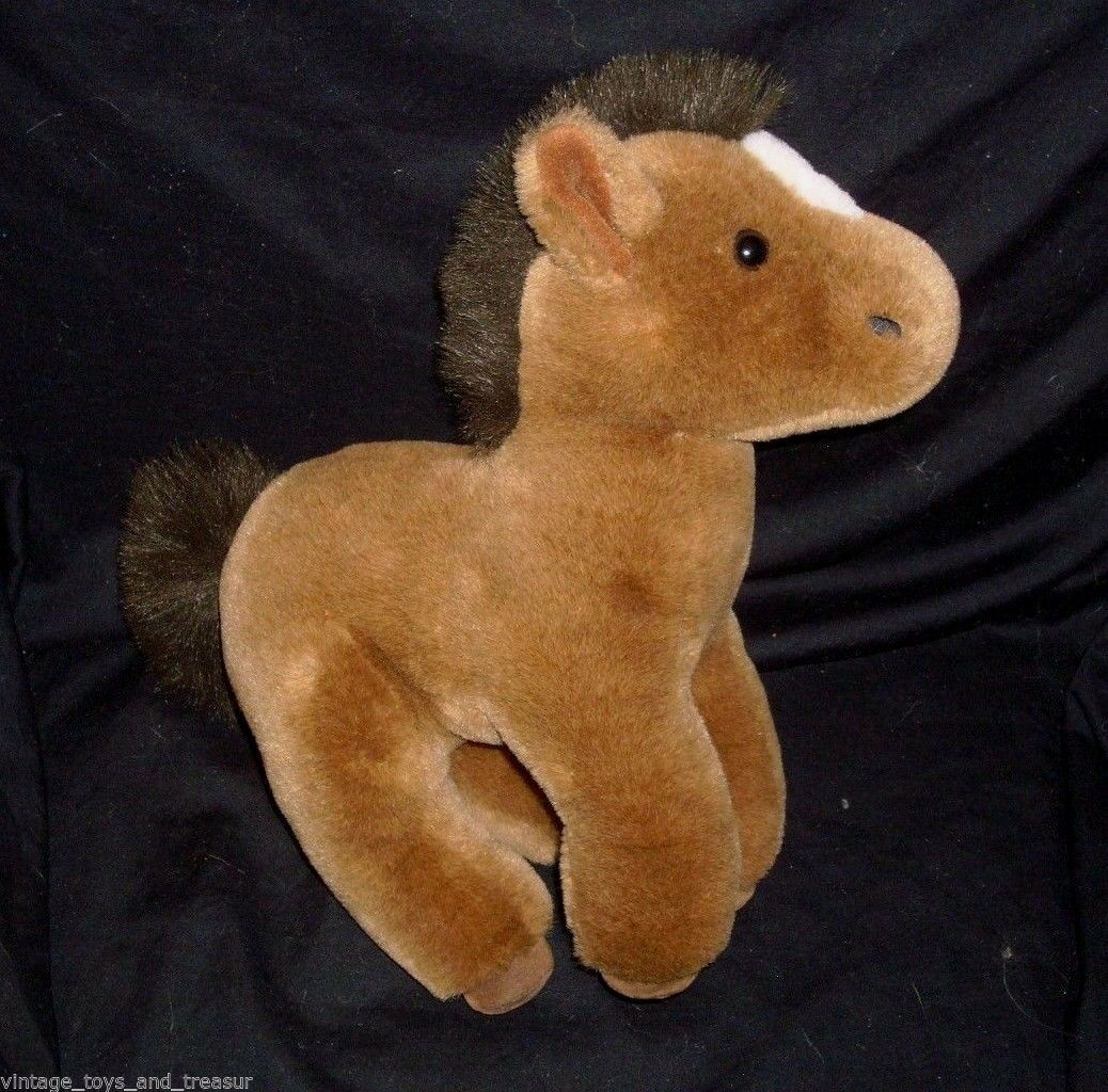 12  VINTAGE 1988 R DAKIN BROWN WHITE HORSE BABY PONY STUFFED ANIMAL PLUSH TOY
