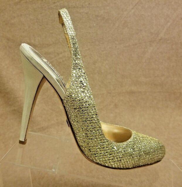 Badgley Mischka Women Shoes Slingbacks Glitter Gold Stilettos Heels Size 9 M f191a5acd3fd