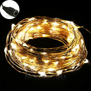 Warm-White-10M-33FT-100LED-Copper-Wire-String-Party-Wedding-Fairy-Lights-Lamp
