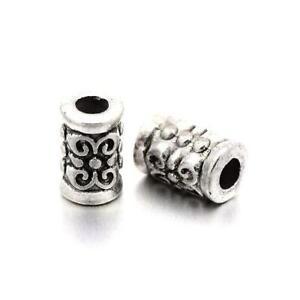 Tibetan-Tube-Spacer-Beads-5-x-7mm-Antique-Silver-30-Pcs-Art-Hobby-DIY-Jewellery