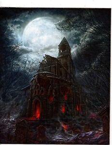Unframed Poster Art  Fantasy  art castle with moon and graveyard m460