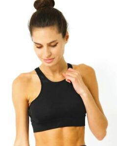 Simple-as-ABC-Sports-Bra-Racerback-Athletic-Workout-Performance-Clasp-free-Black