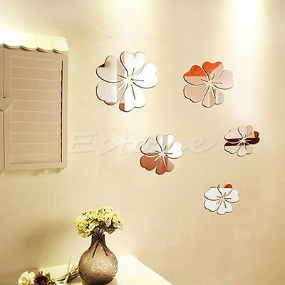 Beautiful Mirror Style Flowers Removable Decal Vinyl Art Wall Sticker Home Decor