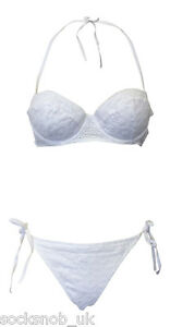 Ladies-Ex-TOPSHOP-Halterneck-Top-padded-Bikini-UK-SELLER-WHITE-LACE