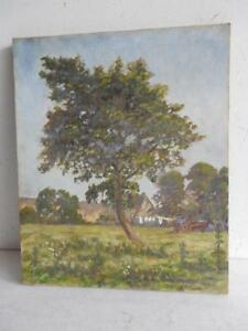 really-old-PAINTING-oil-TREE-horse-cart-landscape